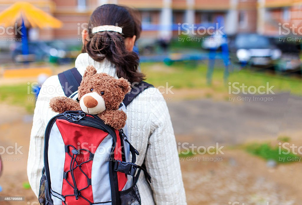 Teddy In Backpack stock photo
