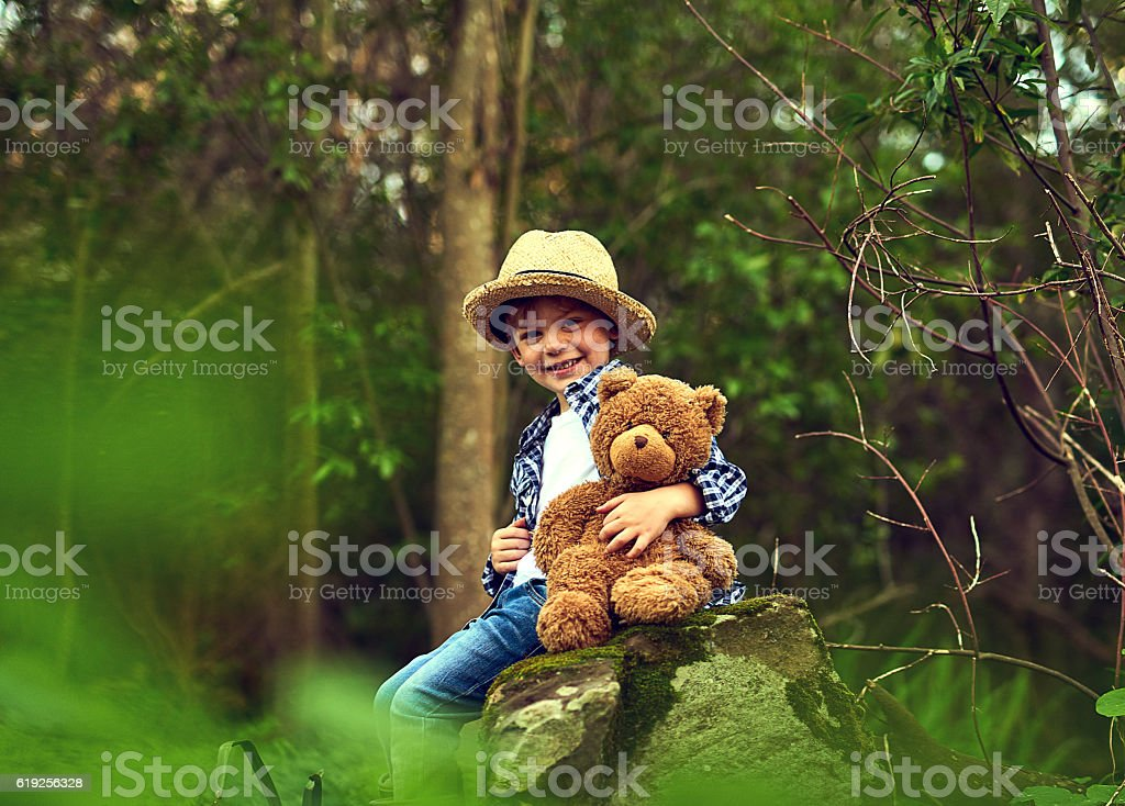 Teddy is quite happy when we're outdoors stock photo