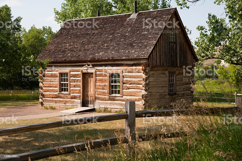 Teddy Roosevelt's Maltese Cross Log Cabin stock photo