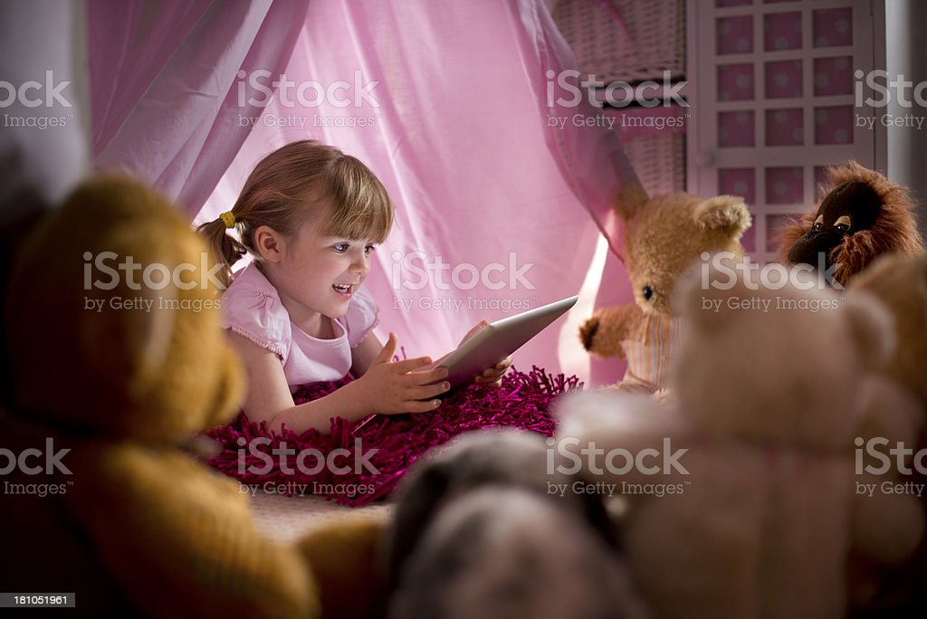teddy story time stock photo
