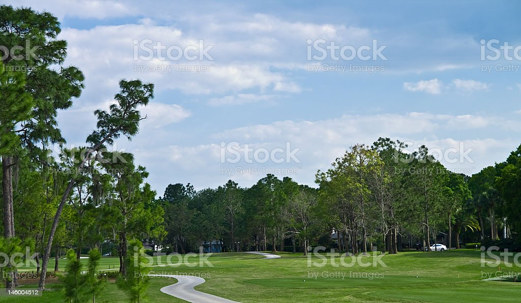 Tee box on a golf course royalty-free stock photo