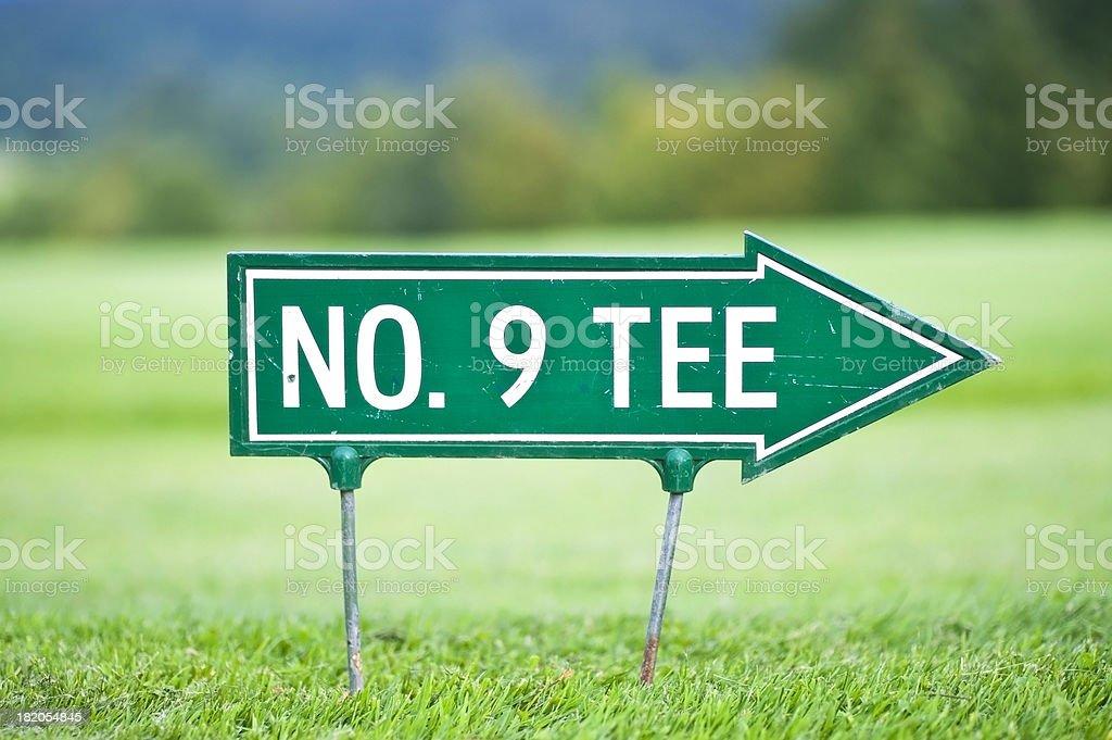 Tee No. 9 arrow to the right on golfcourt royalty-free stock photo