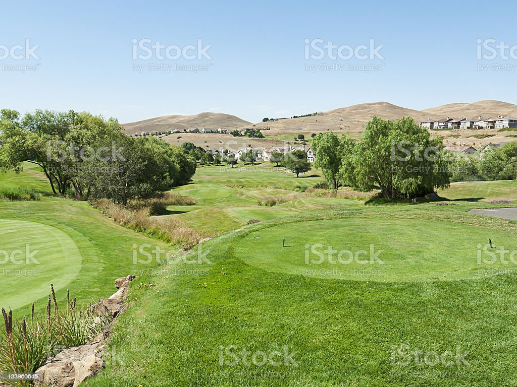 Tee on a golf course in Northern California hills royalty-free stock photo