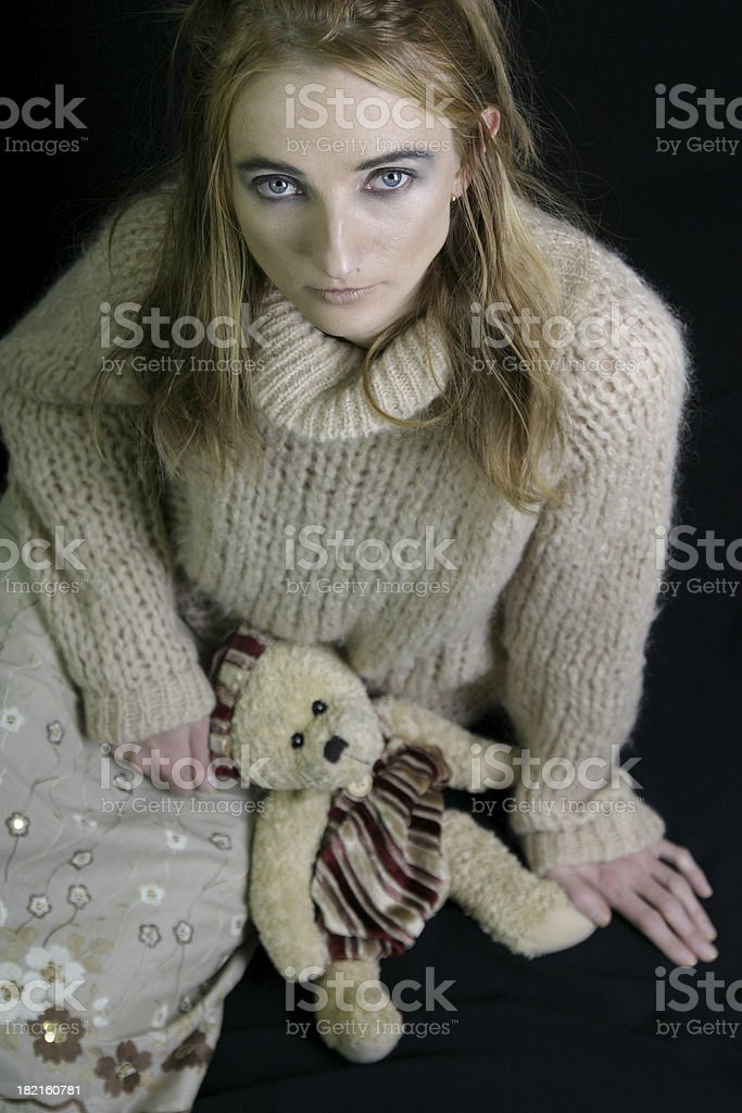teedy bear and woman royalty-free stock photo
