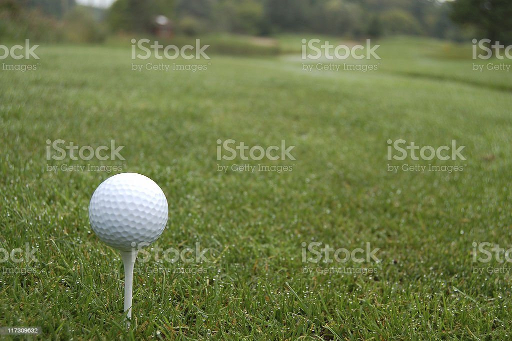 Teeing off in early morning stock photo