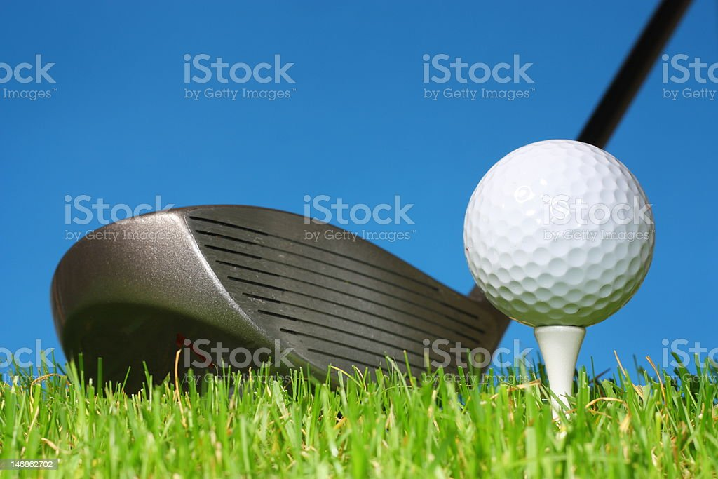 Teeing off with a driver. royalty-free stock photo