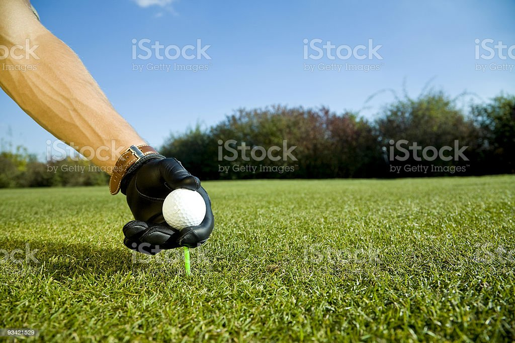 teeing up a golf ball royalty-free stock photo