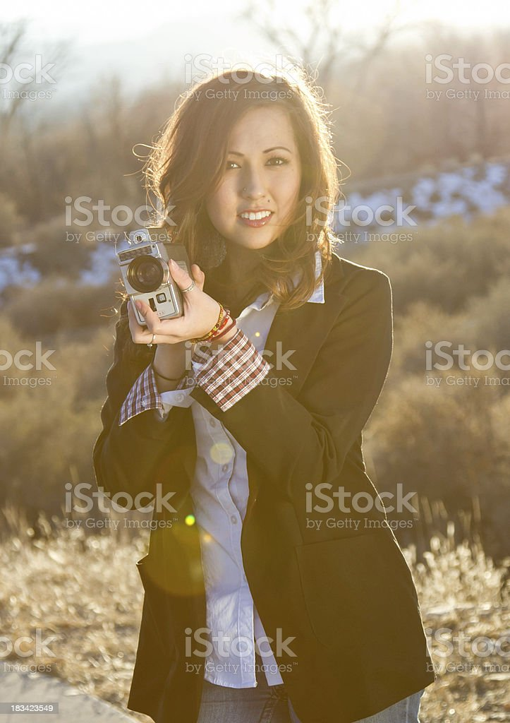 Teen and video camera royalty-free stock photo