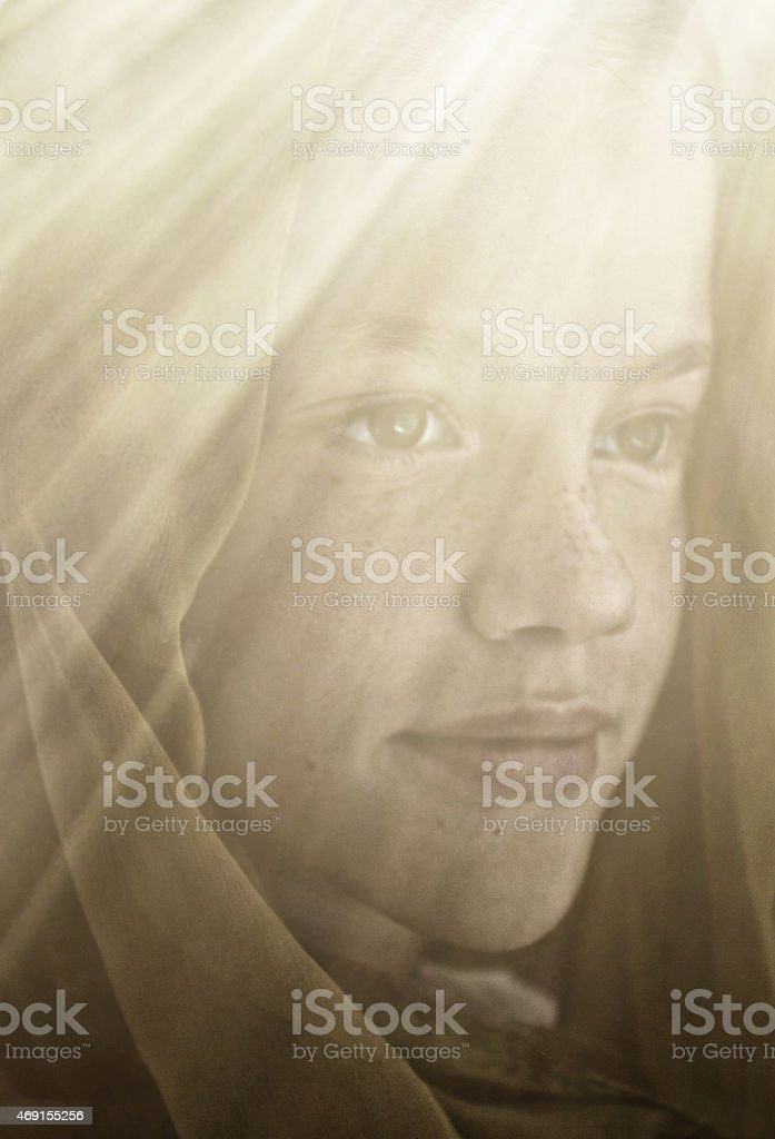 Teen Angel in the light stock photo