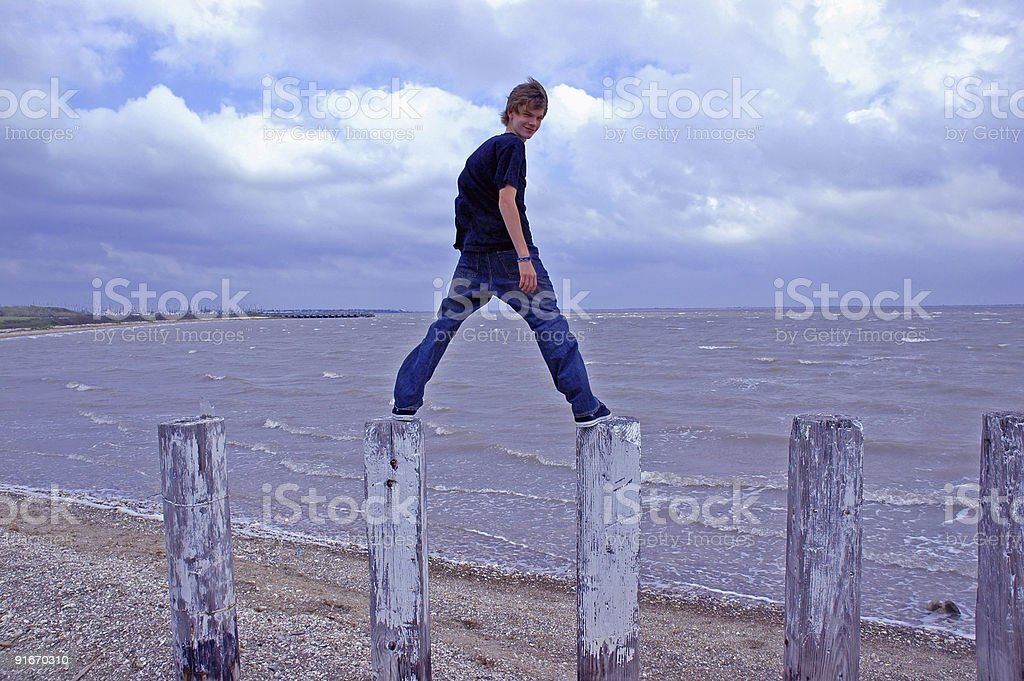 Teen at the Shoreline stock photo
