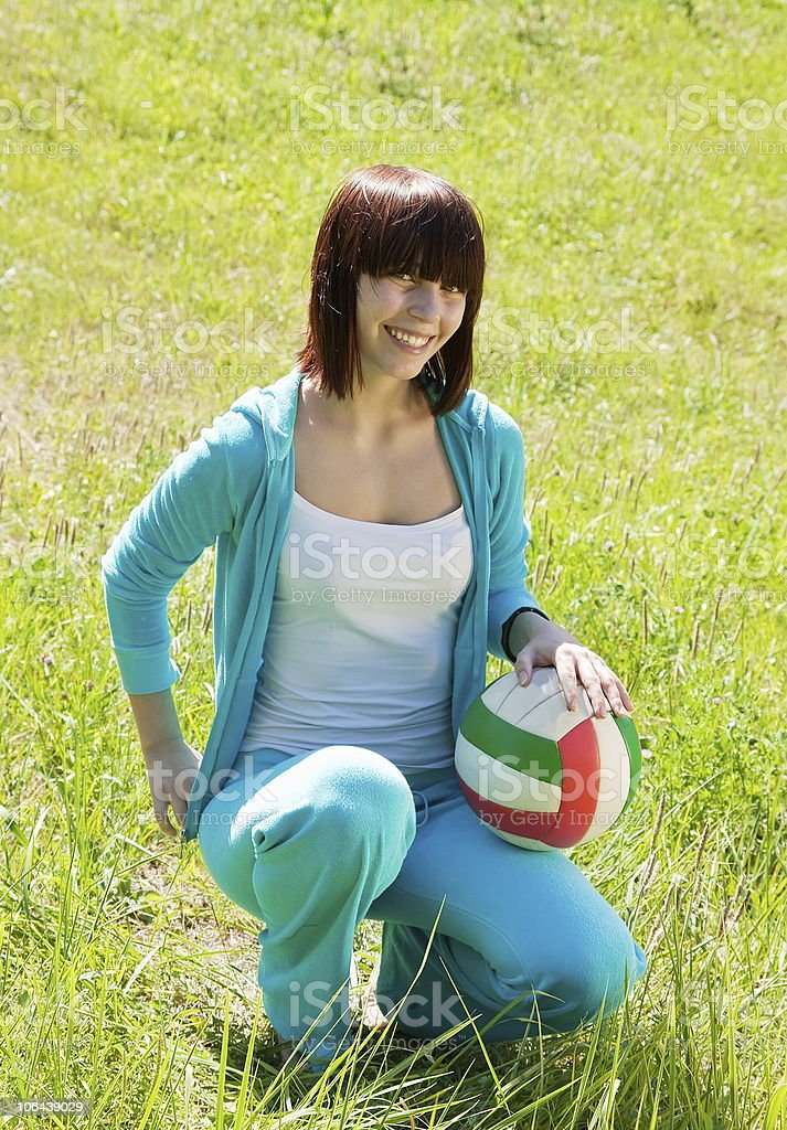 teen athlete with volleyball royalty-free stock photo