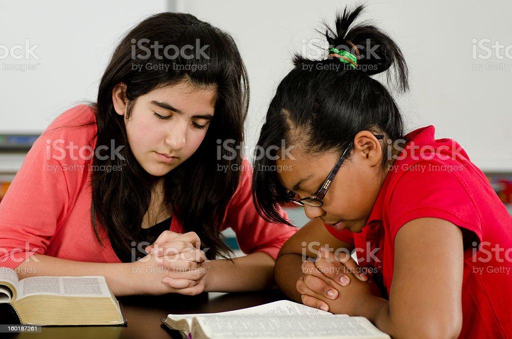Teen Bible study stock photo
