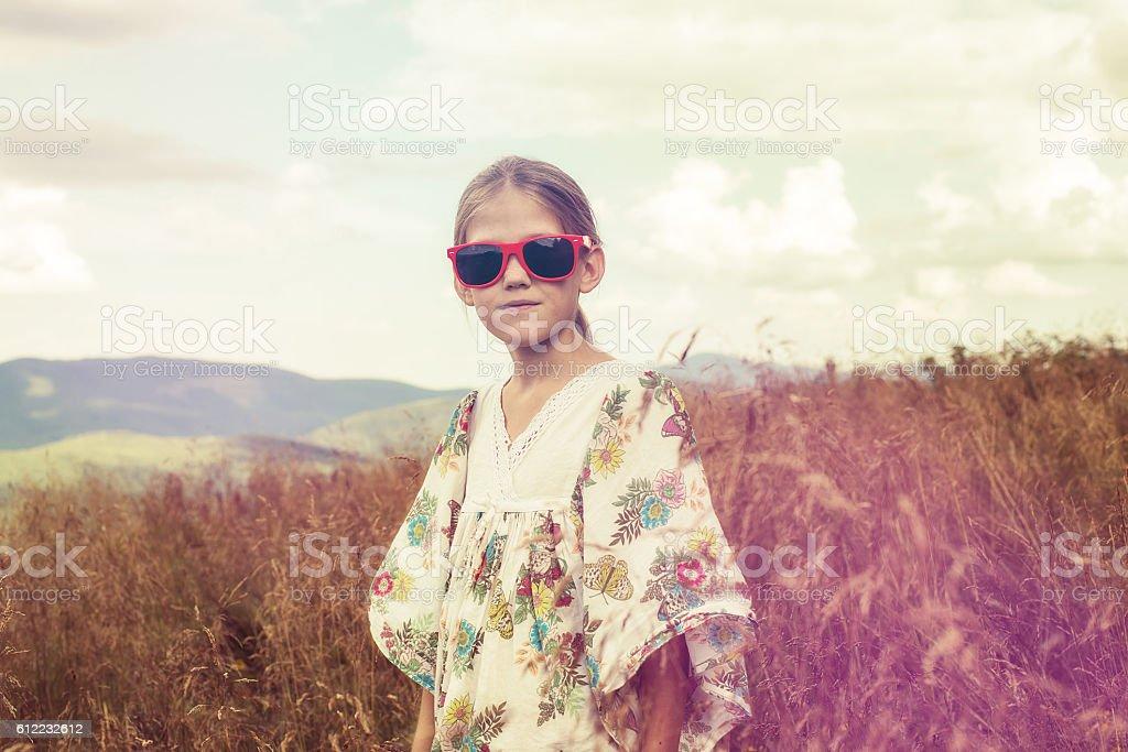 Teen blonde in hippie style stock photo