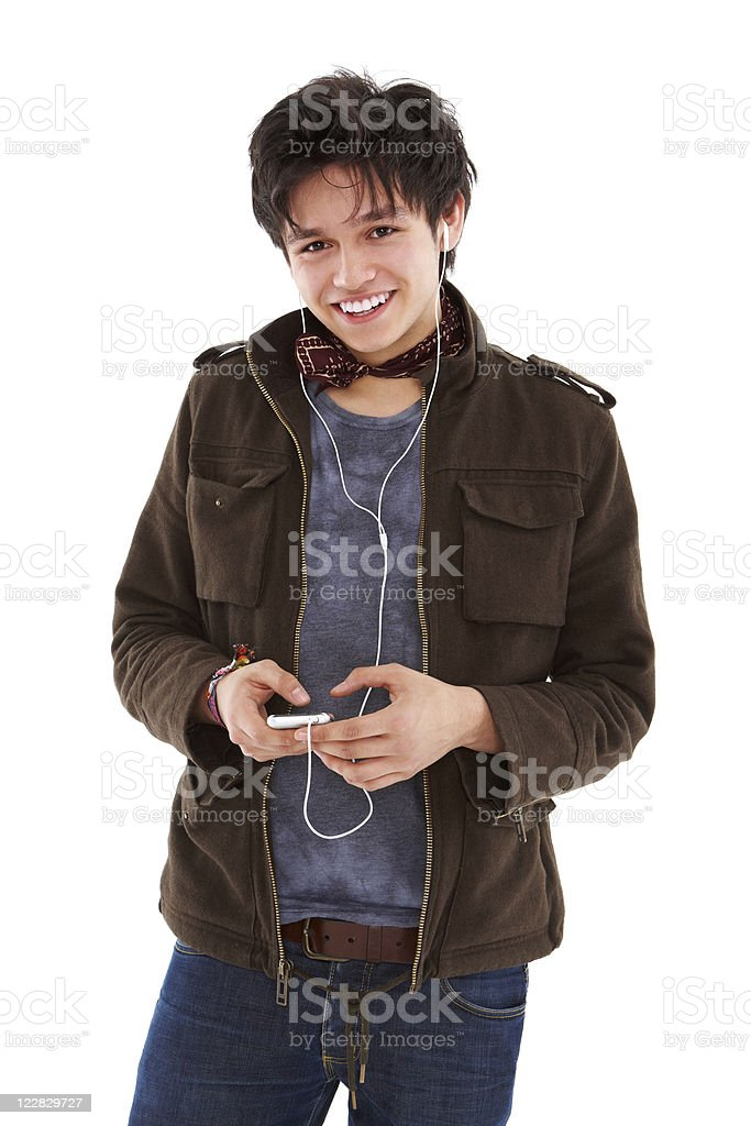 Teen Boy Listening to Music - Isolated royalty-free stock photo
