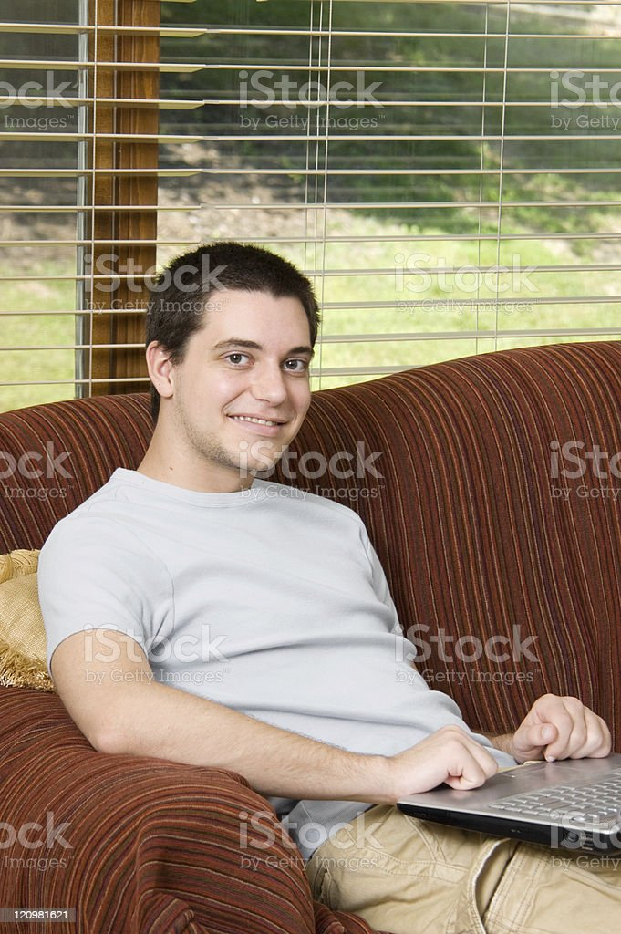 Teen Boy on Laptop royalty-free stock photo