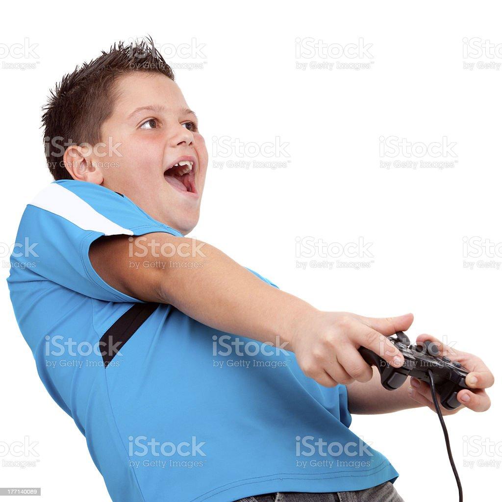 Teen garçon jouant avec console photo libre de droits