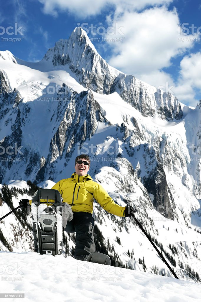 XXXL teen boy snowshoeing royalty-free stock photo