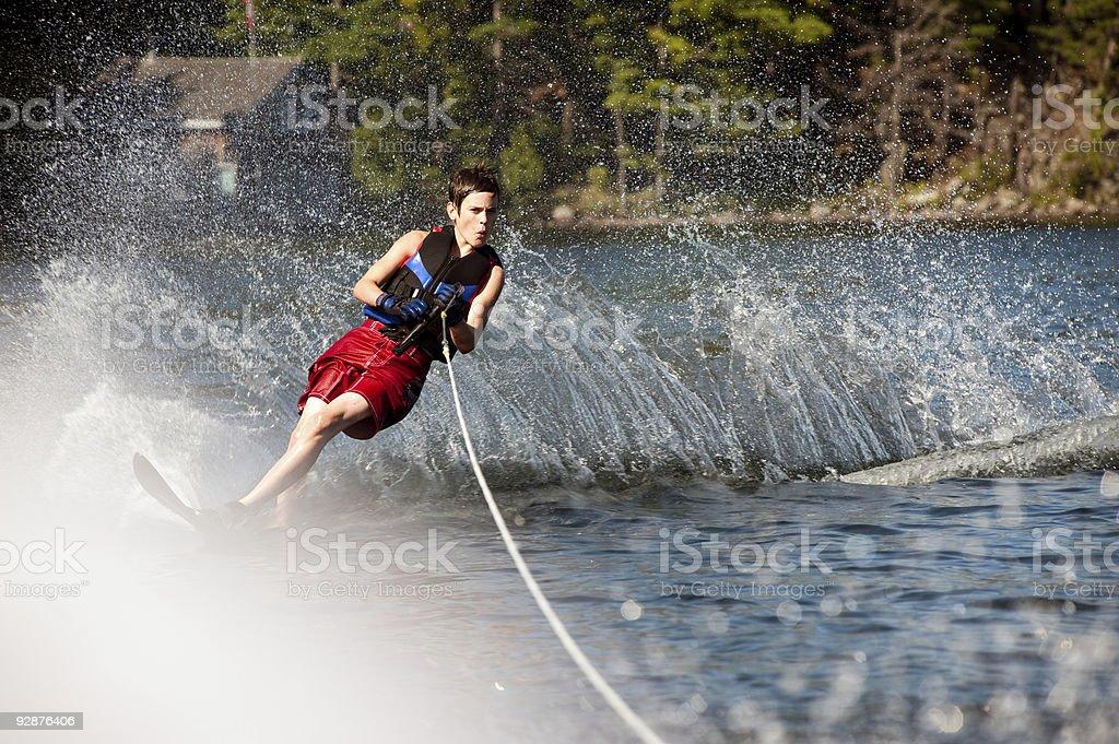 Teen Boy Waterskiing stock photo