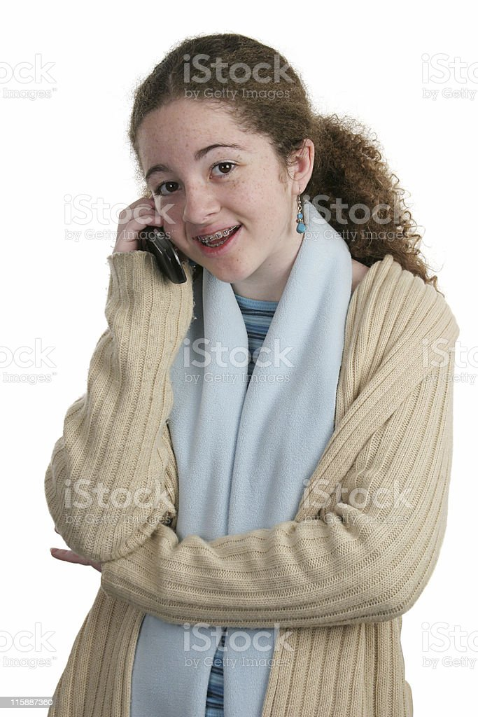 Teen Cell Conversation royalty-free stock photo