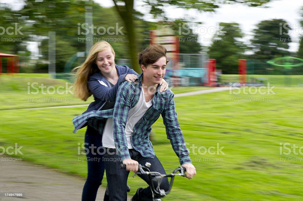 teen couple at the skatepark royalty-free stock photo
