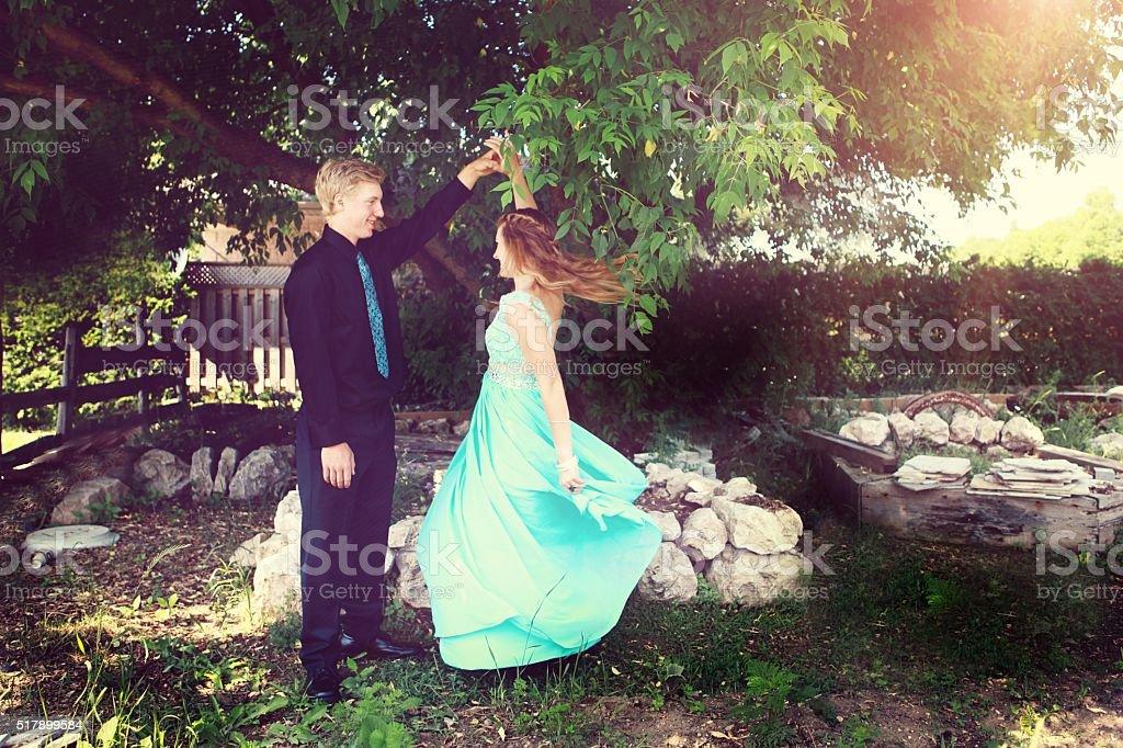 Teen Couple Dancing Outside stock photo
