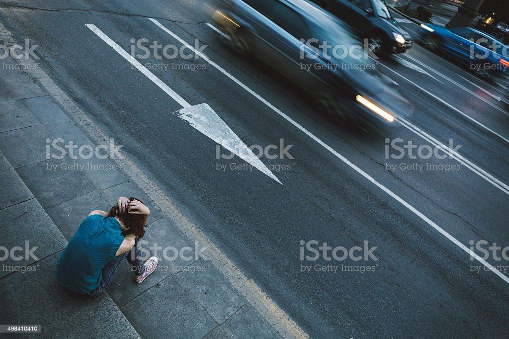 Teen depression stock photo