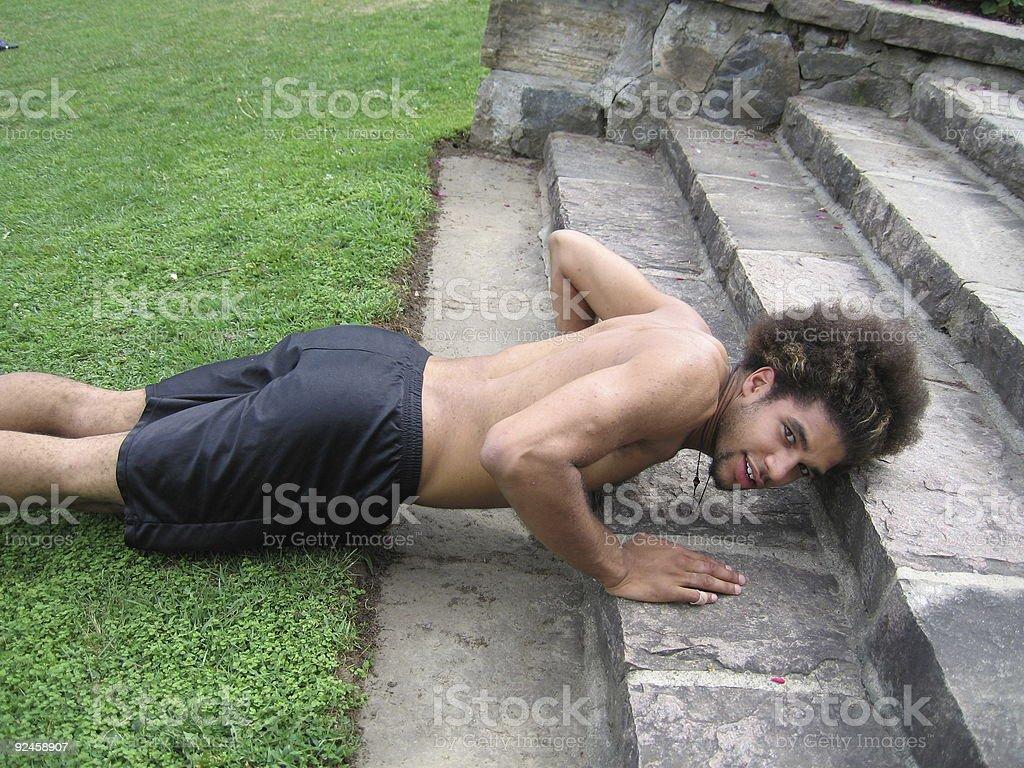 Teen Doing Pushups royalty-free stock photo