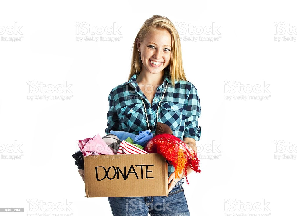 Teen Donating Clothing to Charity royalty-free stock photo