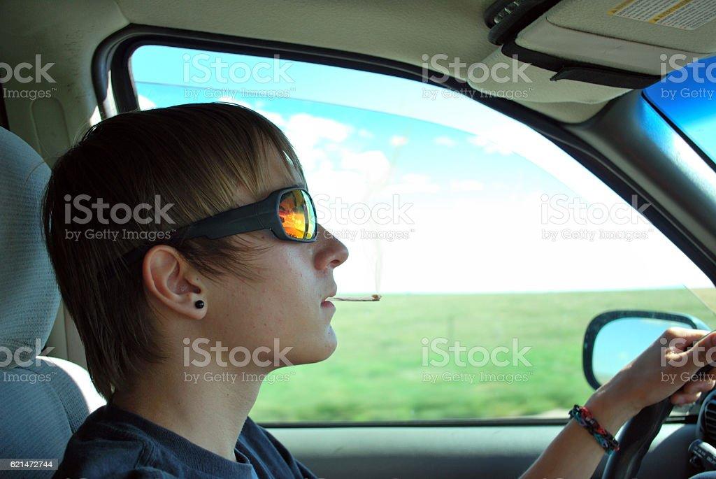 Teen Driving High stock photo