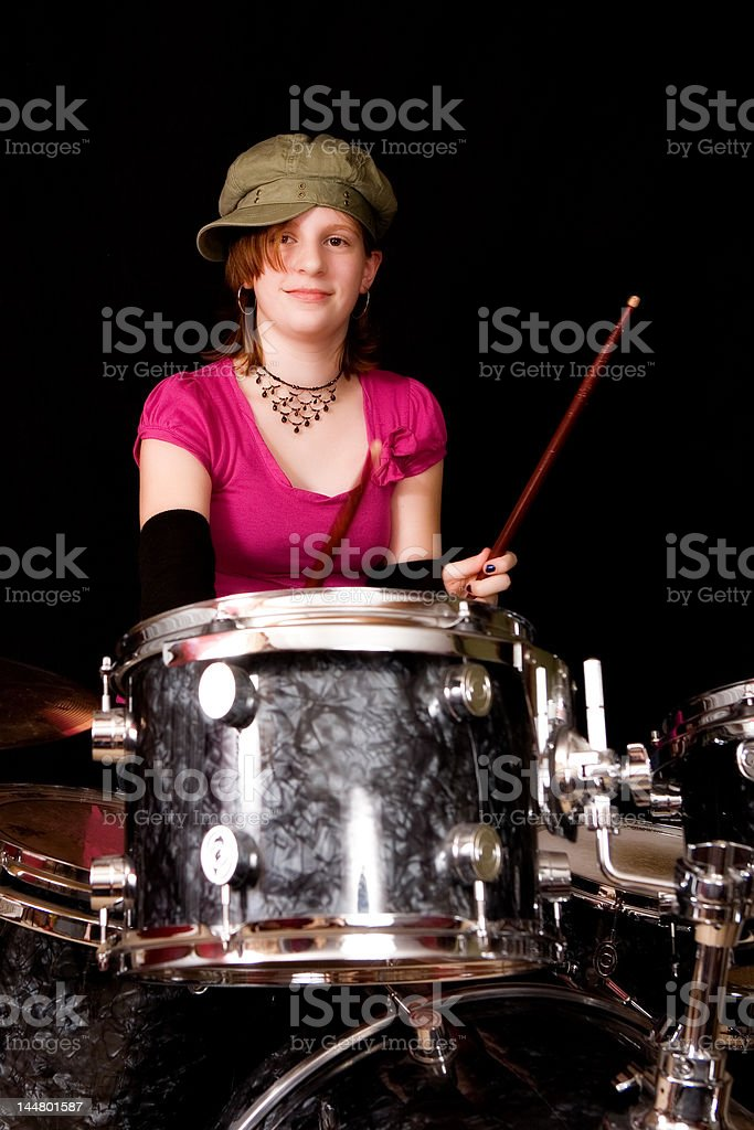 Teen Drummer Girl royalty-free stock photo