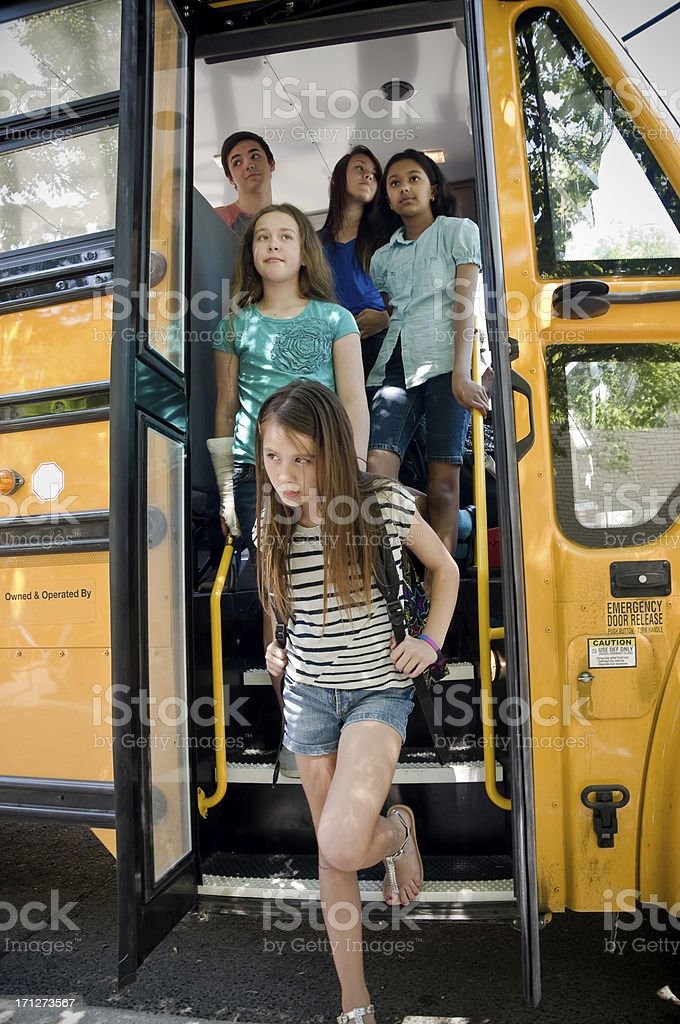 Teen faces off the bus royalty-free stock photo