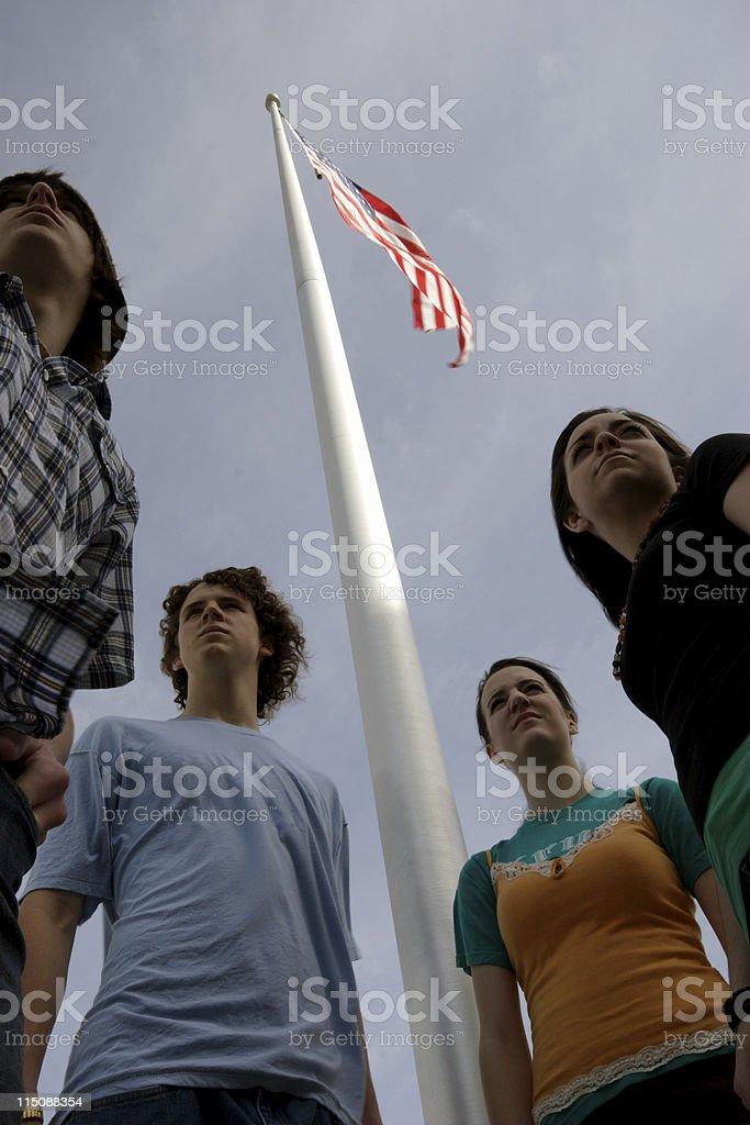 teen flagpole portrait - standing firm stock photo