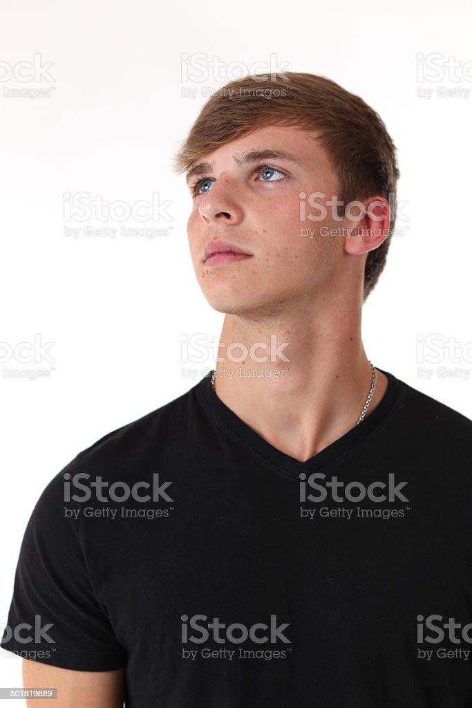 Teen Gazes Skyward stock photo