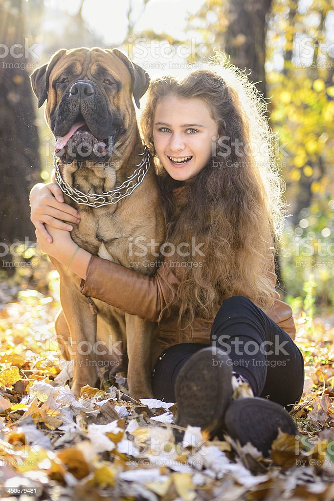 teen girl and dog royalty-free stock photo