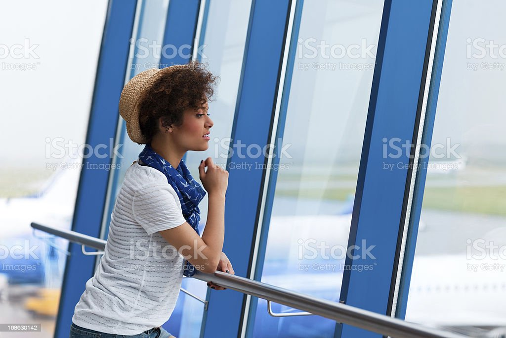 Teen girl at the airport royalty-free stock photo