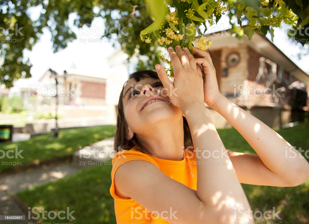 Teen girl before the house royalty-free stock photo