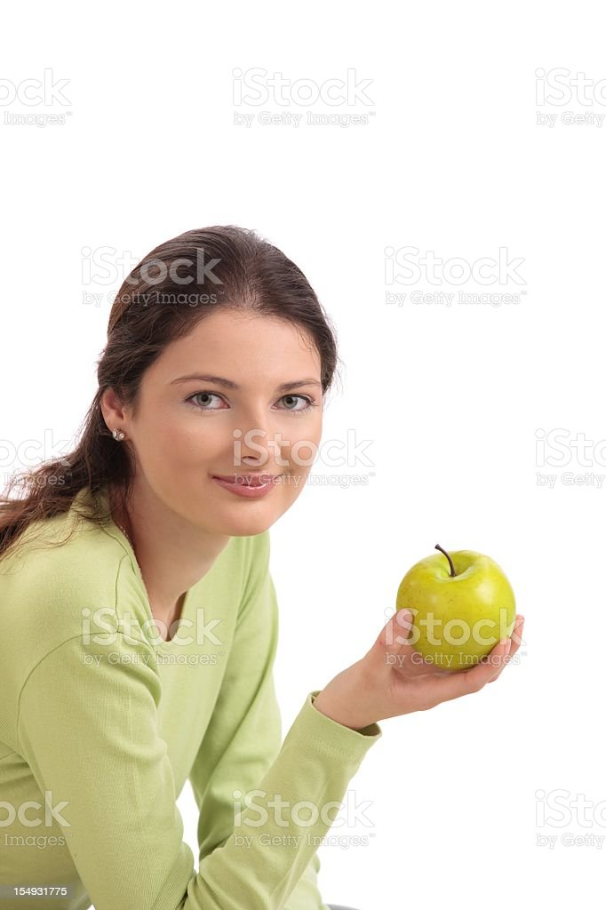Teen girl eating apple royalty-free stock photo