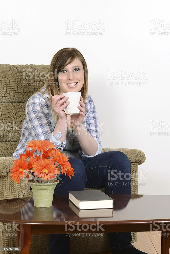 teen girl enjoying a coffee royalty-free stock photo