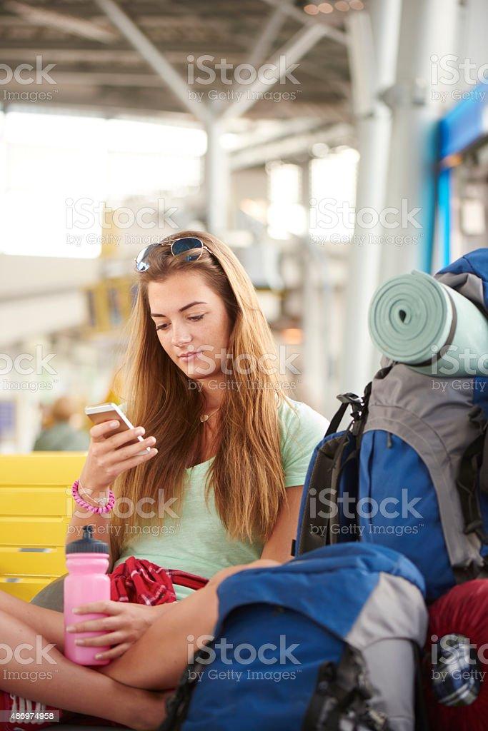 Teen girl heading on vacation stock photo