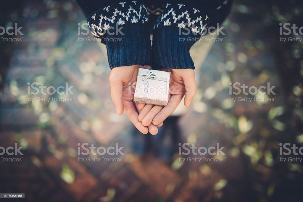 Teen girl holds a gift in her hands stock photo