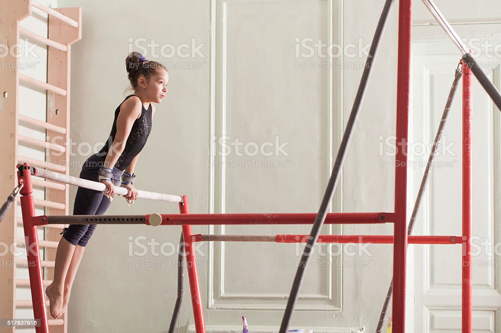 teen girl in a sports hall stock photo