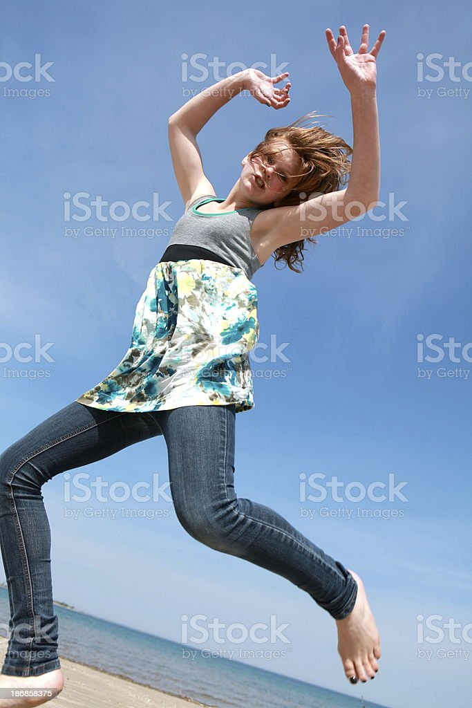 Teen Girl Jumping royalty-free stock photo