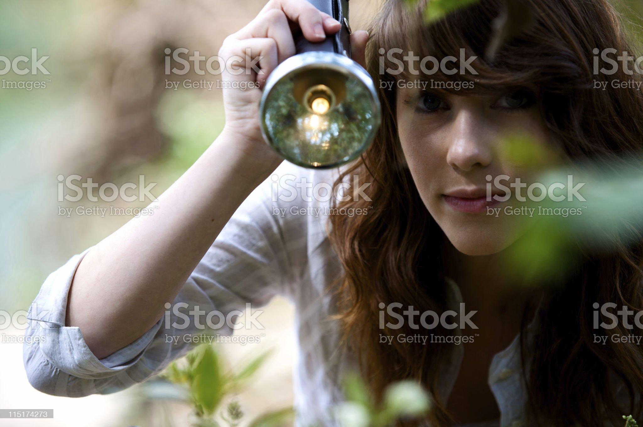 teen girl outdoor flashlight portraits royalty-free stock photo