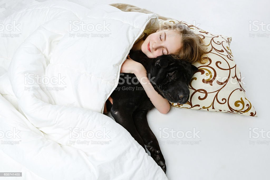 Teen girl sleeping with dog stock photo
