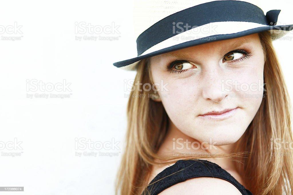 Teen Girl Wearing Fedora royalty-free stock photo