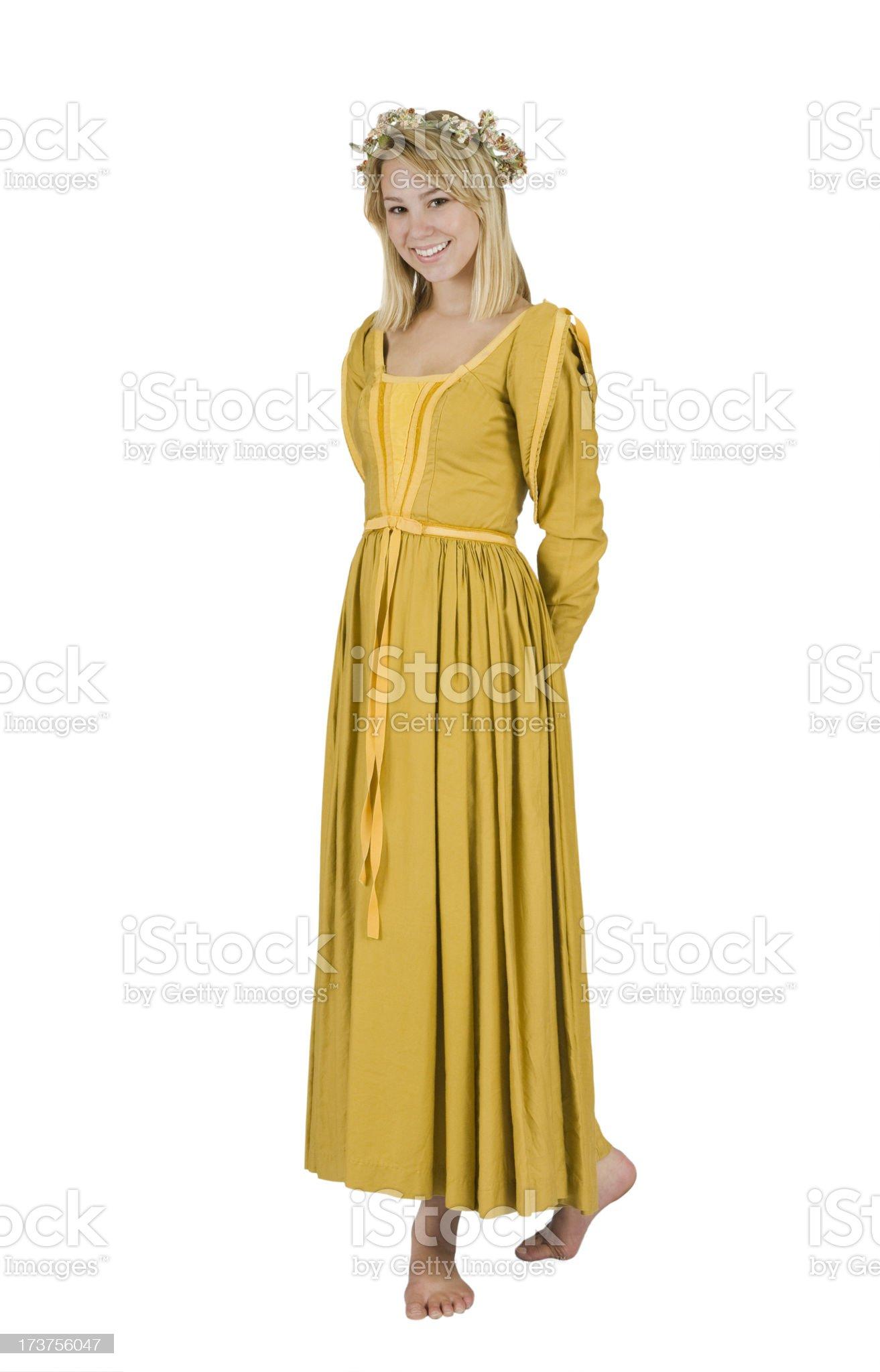 Teen Girl Wearing Renaissance Period Dress Halloween Costume royalty-free stock photo