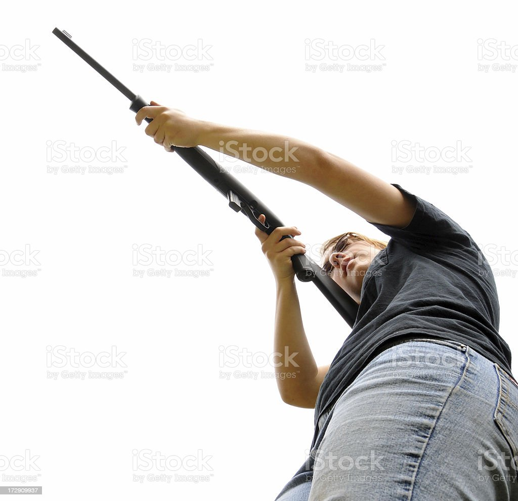 Teen Girl With a Rifle royalty-free stock photo
