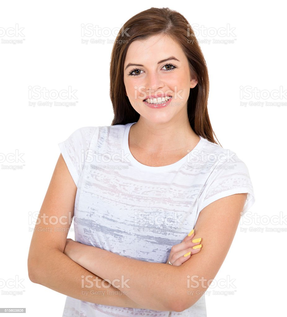 teen girl with arms crossed stock photo