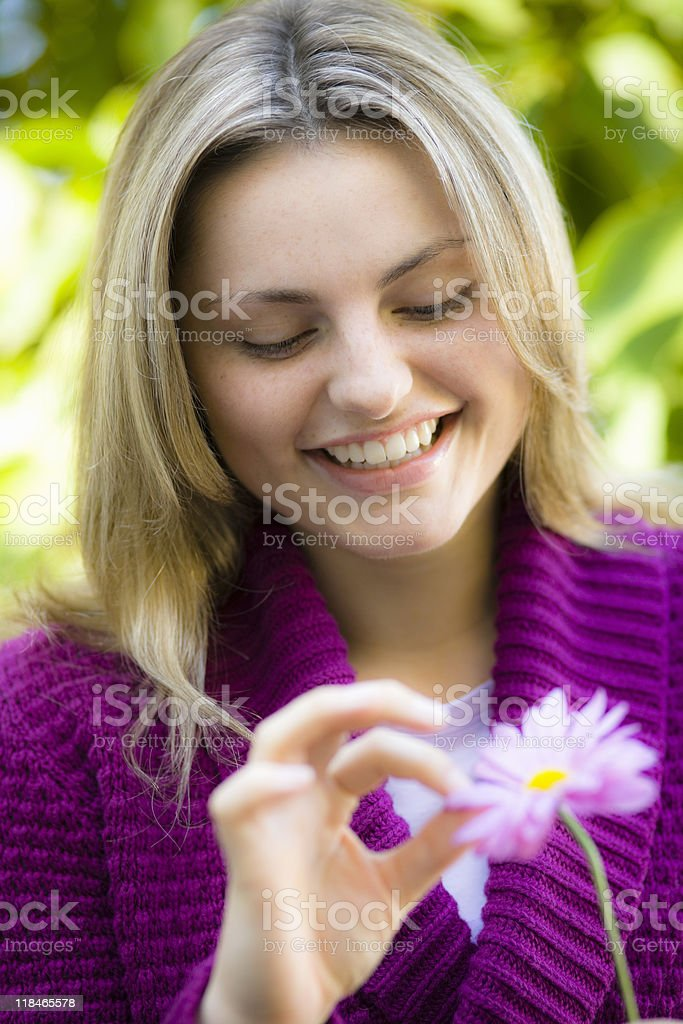 Teen Girl With Flower royalty-free stock photo