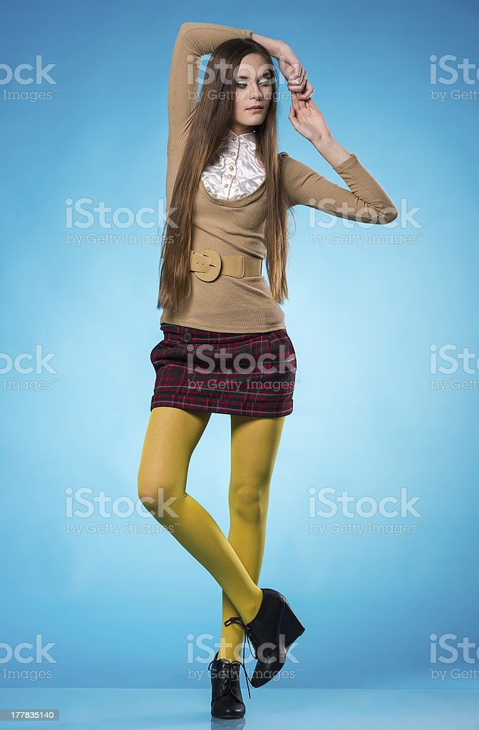Teen girl with long straight hair royalty-free stock photo